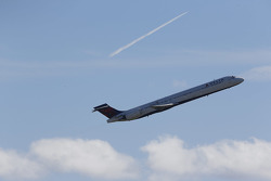 A Delta MD-90 takes off from Daytona Beach airport