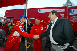 French Minister of Sports J.F. Lamour visits Marlboro Peugeot Total service park