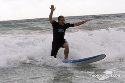 Petter Solberg tries out surfing