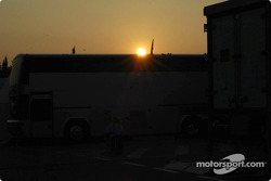 Sunset on the paddock of Circuit de Catalunya