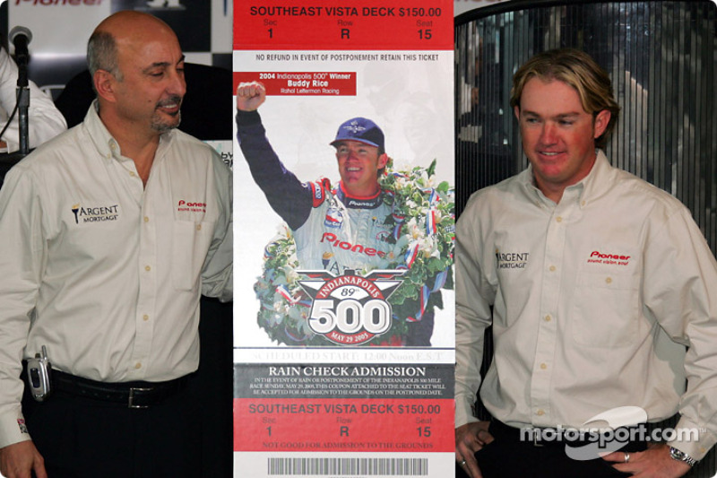 Bobby Rahal and Buddy Rice with the 2005 Indianapolis 500 ticket, featuring images of Rice, Rahal and team co-owner David Letterman