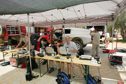 Nissan Rally Raid Team crew members prepare the Nissan Pickup 2005