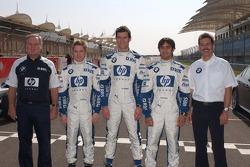 Patrick Head con  Nick Heidfeld, Mark Webber, Antonio Pizzonia y el Dr. Mario Theissen