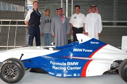 Nick Heidfeld and Mark Webber with The Crown Prince of Bahrain