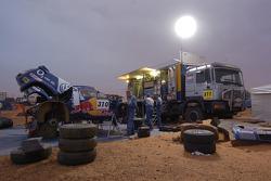 Volkswagen Motorsport service area at the Atar bivouac