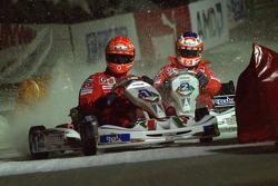 Kart race on ice: Michael Schumacher and Rubens Barrichello