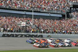 Green flag: Dale Jarrett and Jimmie Johnson lead the field