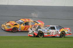 Wrecked cars of Travis Kvapil and John Andretti