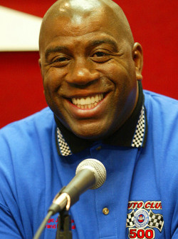 Grand Marshal Earvin Magic Johnson during a press conference