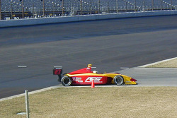 GJ Mennen tests the transition from the new pavement to the old in turn 1