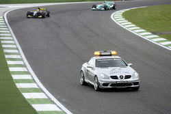 Pace lap: Giorgio Pantano and Jose Maria Lopez follow the safety car