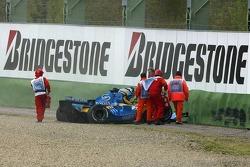 Giancarlo Fisichella crashes in the tire wall