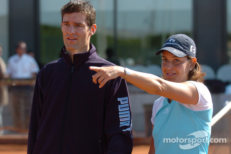 F1 Tennis Charity for the Northampton Intensive Care Unit at the Sanchez-Casal Open Tennis Academy: Mark Webber and Arantxa Sanchez