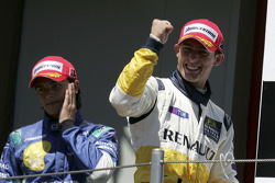 Podium: race winner Jose Maria Lopez and Nelson A. Piquet