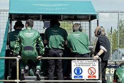 Ex BAR F1 boss Dave Richards watches from the pitwall as his Aston Martin team fight for the lead
