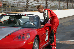Dan Wheldon admires his new 2005 Corvette Pace Car