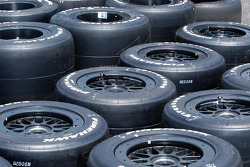 Tires neatly arrayed for the fray