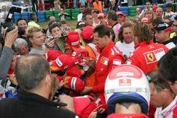 Bridgestone karting event: Michael Schumacher with fans