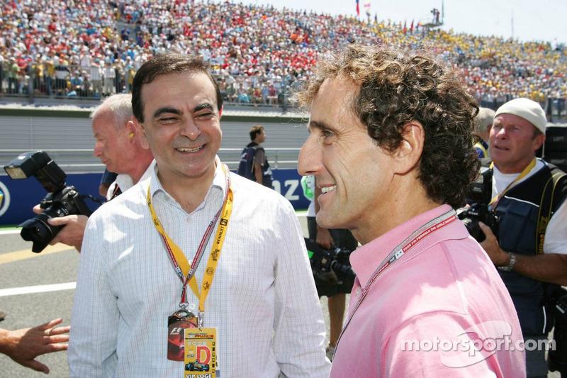 Presidente de Renault Carlos Ghosn y Alain Prost