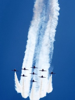 Flyover by the Royal Air Force Red Arrows