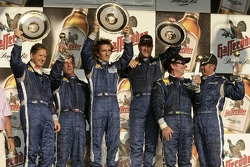 Race winner Alain Prost with Jody Scheckter, Johnny Cecotto, Nigel Mansell, Emerson Fittipaldi and Mick Doohan