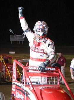 Indiana Sprint Week Feature winner Dave Darland celebrates