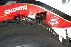 A close up view of the right rear of Dan Wheldon's winning car