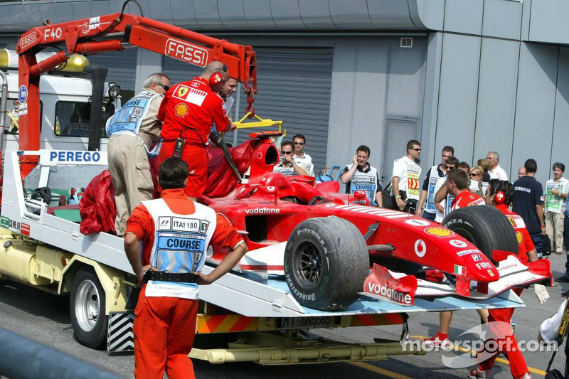 The Ferrari of Michael Schumacher after his spin at the Parabolica