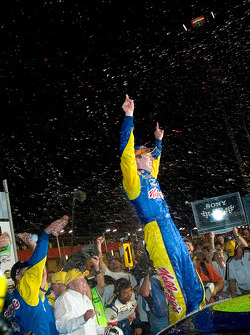 Kyle Busch celebrates his first NASCAR Cup win