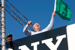 Former Dodgers baseball manager Tommy Lasorda waved the Green Flag to start the race