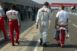 Ricardo Zonta, Alexander Wurz and Olivier Panis