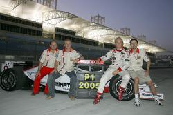 2005 GP2 Series champion Nico Rosberg celebrates with teammate Alex Premat