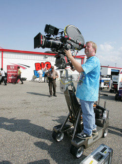Filming of the movie 'High, Wide, and Handsome': film crew at work
