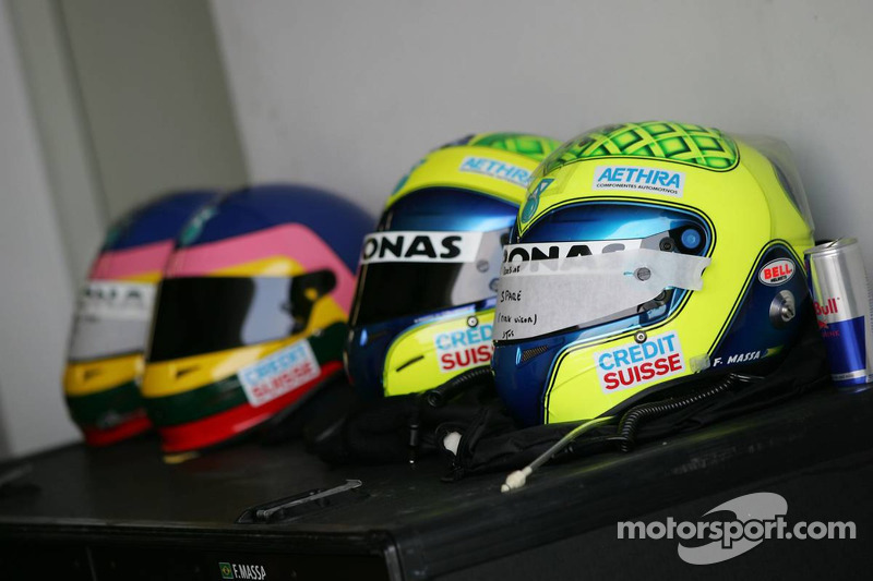 Helmets of Jacques Villeneuve and Felipe Massa