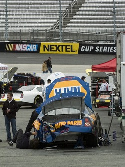 Michael Waltrip's crew works on the NAPA Chevy