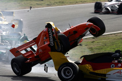 Jos Verstappen and Adrian Sutil crash