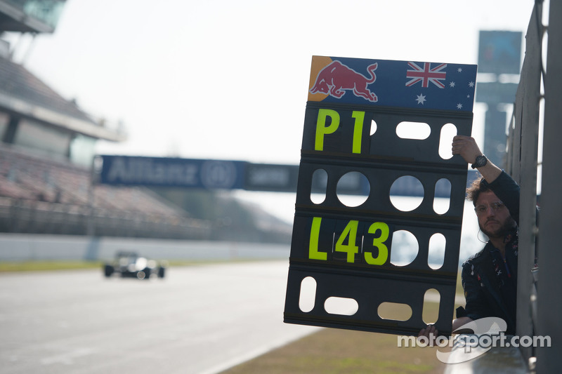 Pit board for Daniel Ricciardo, Red Bull Racing