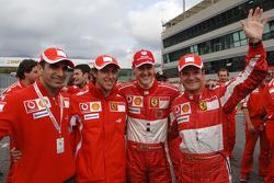 Marc Gene, Luca Badoer, Michael Schumacher and Rubens Barrichello