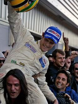Bruno Senna is held aloft by his Brazilian friends all equally ecstatic about his 2nd place