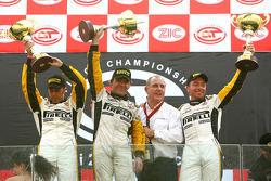 GT1 podium: class and overall winners Bert Longin, Anthony Kumpen and Mike Hezemans celebrate