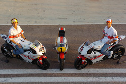 Yamaha's 50th anniversary celebration: Valentino Rossi and Colin Edwards with the Valencian GP livery YZR-M1s