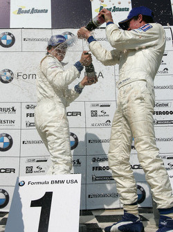 Podium: champagne for Edoardo Piscopo and James Davison