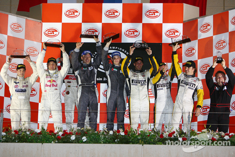 GT1 podium: class and overall winners Antonio Garcia and Christophe Bouchut, with Philipp Peter and Jamie Davies, and Bert Longin, Anthony Kumpen and Mike Hezemans
