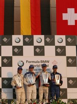 Podium: winner Marco Holzer with Sebastien Buemi, Nicolas Huelkenberg and Sam Bird
