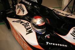Michael Andretti's distinctive helmet with the new Jim Beam Vonage colors on his Dallara Honda Firestone ride for the 90th Indianapolis 500
