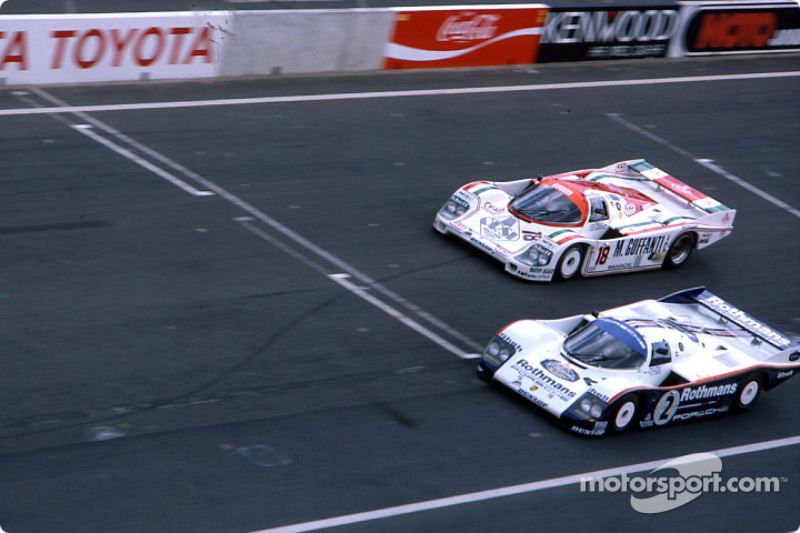 #2 Rothmans Porsche 962C: Derek Bell, Hans Stuck, #18 Brun Motorsport Porsche 956: Oscar Larrauri, Massimo Sigala, Gabriele Tarquini