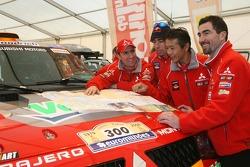 Drivers for Team Repsol Mitsubishi Ralliart: Stéphane Peterhansel, Nani Roma, Hiroshi Masuoka and Luc Alphand