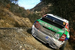 The Skoda of François Duval after his crash