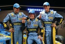 Giancarlo Fisichella, Fernando Alonso and Heikki Kovalainen