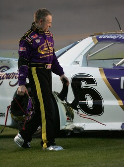 Mark Martin inspects his car